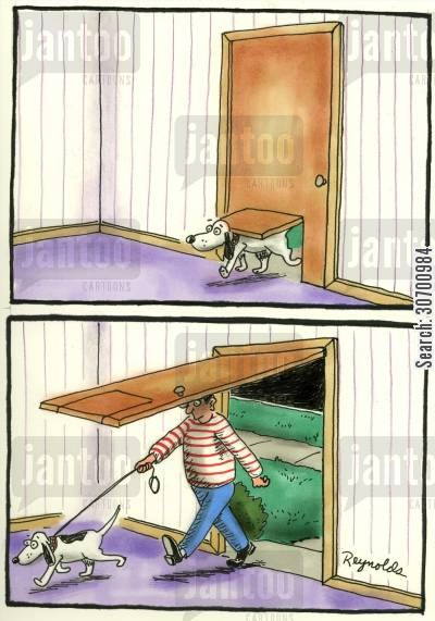 dogflap cartoon humor: Dog flapDoor Flap.
