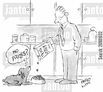 disgust cartoon humor: Dog looks at food and asks 'No prizes?'.