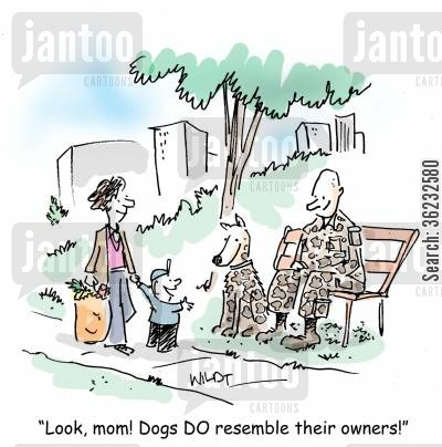dogs like owners cartoon humor: Look, mom! Dogs DO resemble their owners!