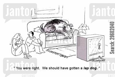 giant dog cartoon humor: 'You were right. We should have gotten a lap dog.'