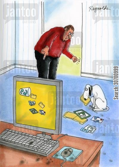 computer files cartoon humor: Dog has gone through computer waste bin and is eating the computer files.