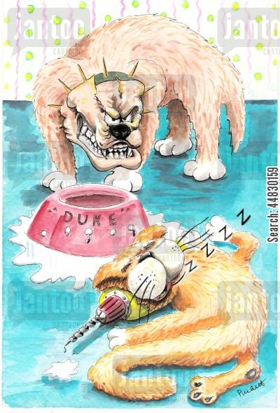 natural enemies cartoon humor: A dog is angry at cat for drilling holes in his water bowl.