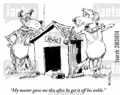 collars cartoon humor: 'My master gave me this after he got it off his ankle.'