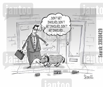 city living cartoon humor: Don't Get Involved...