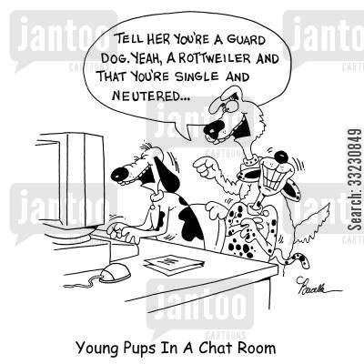rottweiler cartoon humor: Young Pups In A Chat Room.