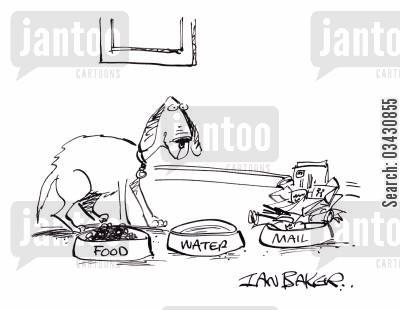 eating post cartoon humor: Food Water Mail.