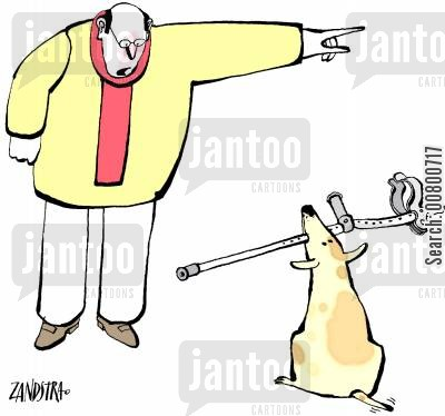 bad dog cartoon humor: Dog with crutch.