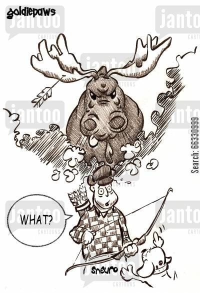 moose cartoon humor: You hit a moose!