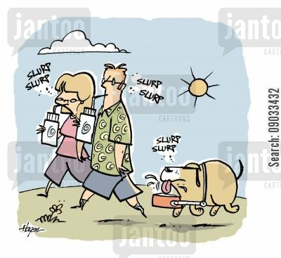 long walks cartoon humor: Dog fitted with water dish holder.