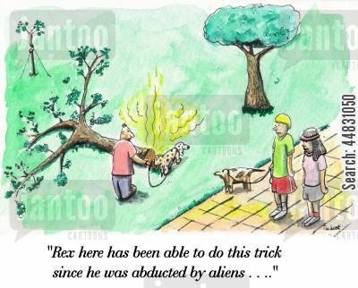 pee cartoon humor: Dog pees on tree felling it . ..