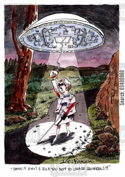 abductions cartoon humor: 'Damn it Fifi! I told you not to chase squirrels!' (Blind woman being abducted by aliens).