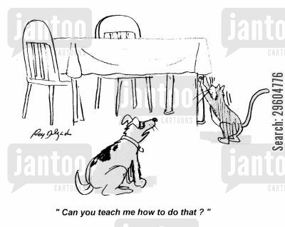 tables cartoon humor: 'Can you teach me how to do that?'