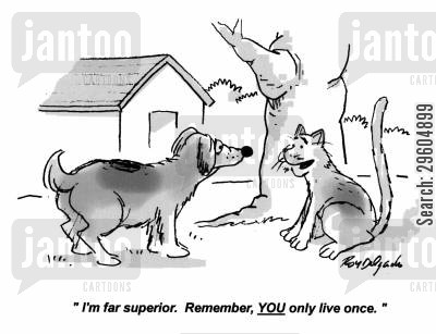 comparison cartoon humor: 'I'm far superior. Remember, you only live once.'