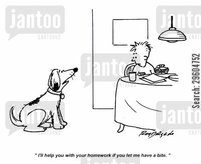 dog ate my homework cartoon humor: 'I'll help you with your homework if you let me have a bite.'