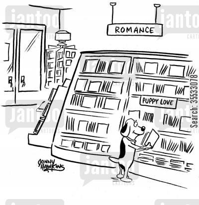 romance novels cartoon humor: Little dog in Romance section in bookstore under sign: 'Puppy Love'
