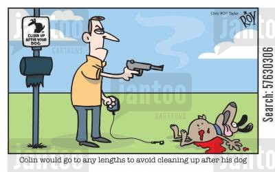 clear up cartoon humor: Colin would go to any lengths to avoid cleaning up after his dog.