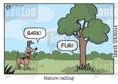 nature calling cartoon humor: Nature calling.