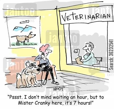 dog year cartoon humor: Pssst. I don't mind waiting an hour, but to Mister Cranky here, it's 7 hours!
