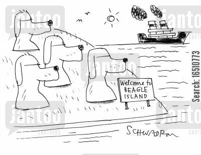 giant statue cartoon humor: 'Welcome to beagle island.'