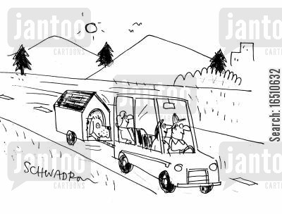 dog person cartoon humor: Family and dog go out on vacation.