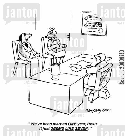 relate cartoon humor: 'We've been married one year Roxie... it just seems like seven.'