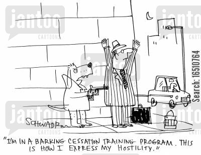 handgun cartoon humor: 'I'm in a barking cessation training program. This is how I express my hostility.'