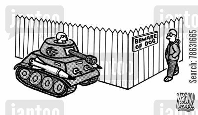 beware of the dog cartoon humor: Beware of dog sign (tank)