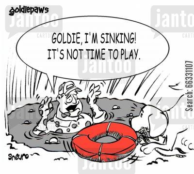 rescue dog cartoon humor: Goldie, I'm sinking! It's not time to play.