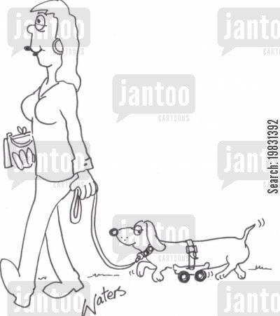 daschund cartoon humor: Woman walking sausage dog.