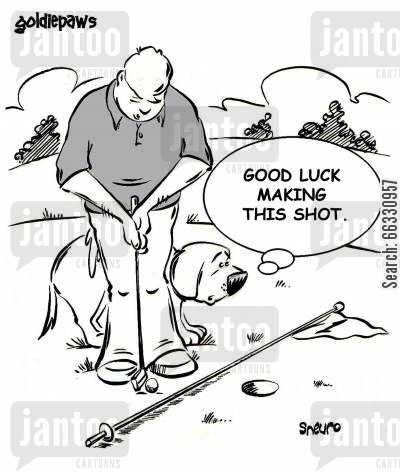 golf green cartoon humor: Good luck making this shot.