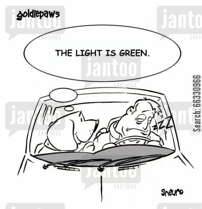 light cartoon humor: The light is green.
