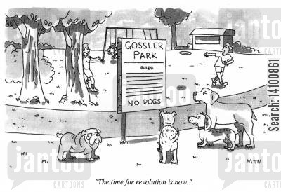 segregation cartoon humor: The time for revolution is now.