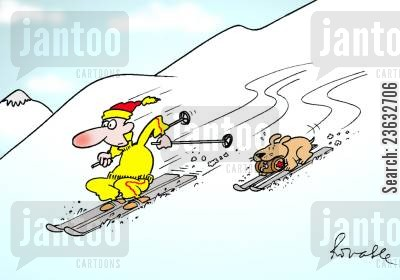 sking cartoon humor: Skier and Dog.