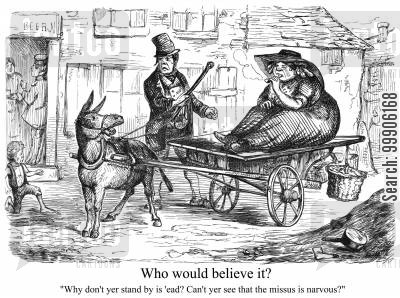 cart cartoon humor: A mule pulling a lady on a carriage.