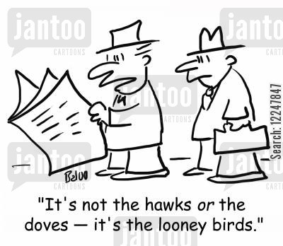 hawks cartoon humor: 'It's not the hawks or the doves -- it's the looney birds.'