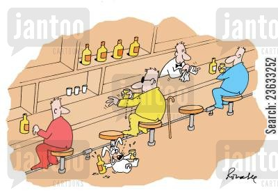 blind man cartoon humor: Drunk dog.