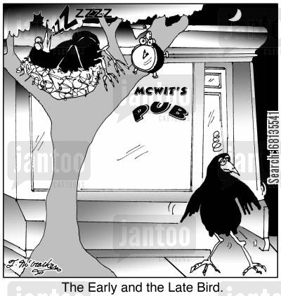 late birds cartoon humor: The Early and the Late Bird