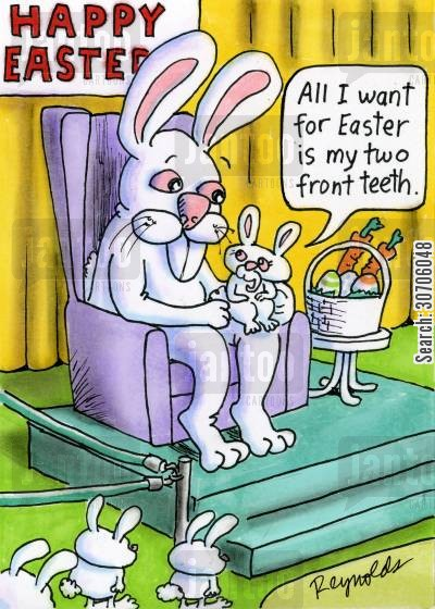 front teeth cartoon humor: 'All I want for Easter is my two front teeth.'