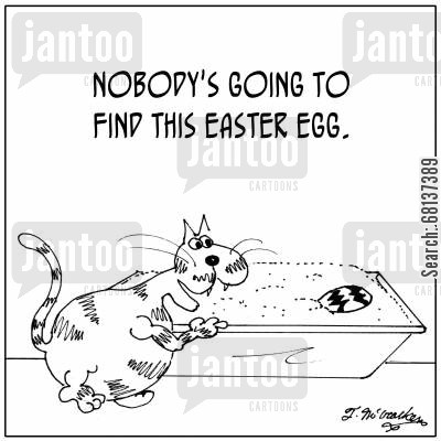 litter bins cartoon humor: 'Nobody's going to find this Easter egg.'