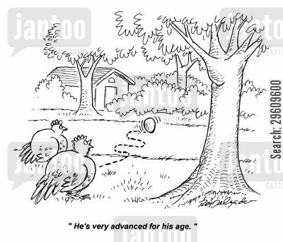 running cartoon humor: 'He's very advanced for his age.'