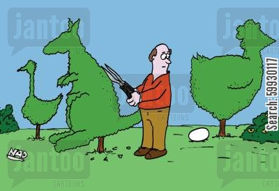 pruning cartoon humor: Topiary chicken lays an egg.