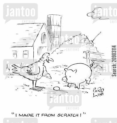 chicken pen cartoon humor: 'I made it from scratch!' (Chicken pointing at egg).