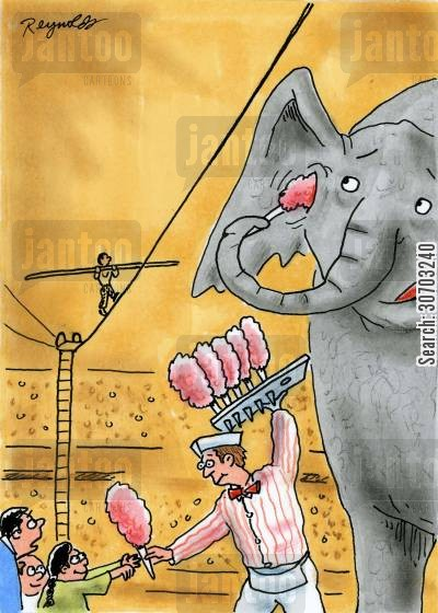 q tips cartoon humor: Elephant Uses Candy Floss as Cotton Bud.