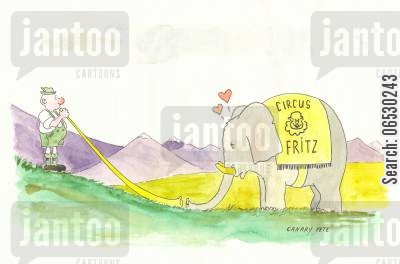 lust cartoon humor: Elephant falls in love with Alpine horn.