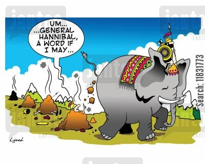 elephant dung cartoon humor: Um, General Hannibal, a word if I may...