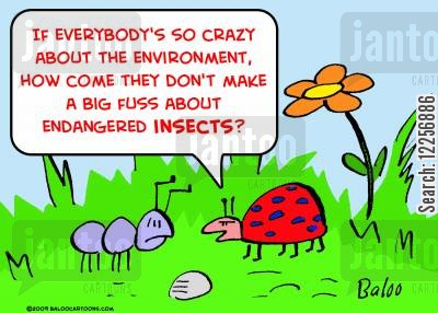 rare creatures cartoon humor: 'If everybody's so crazy about the environment, how come they don't make a big fuss about endangered insects?'