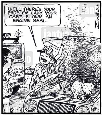 break down cartoon humor: 'Well, there's your problem lady. Your car's blown an engine seal.'