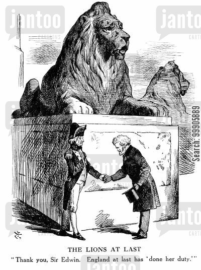 english landmark cartoon humor: The Lions at Last - Trafalgar Square