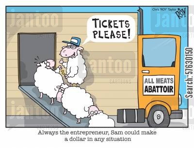 sheep farming cartoon humor: Always the entrepreneur, Sam could make a dollar in any situation.