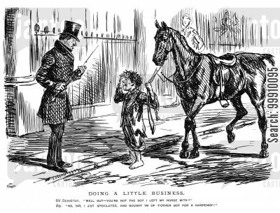 rider cartoon humor: Street boy looking after a horse
